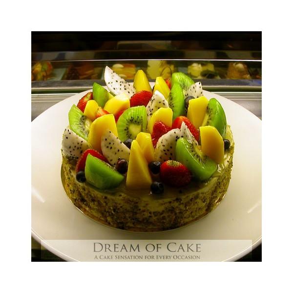 Green Tea Cake Fresh Fruits